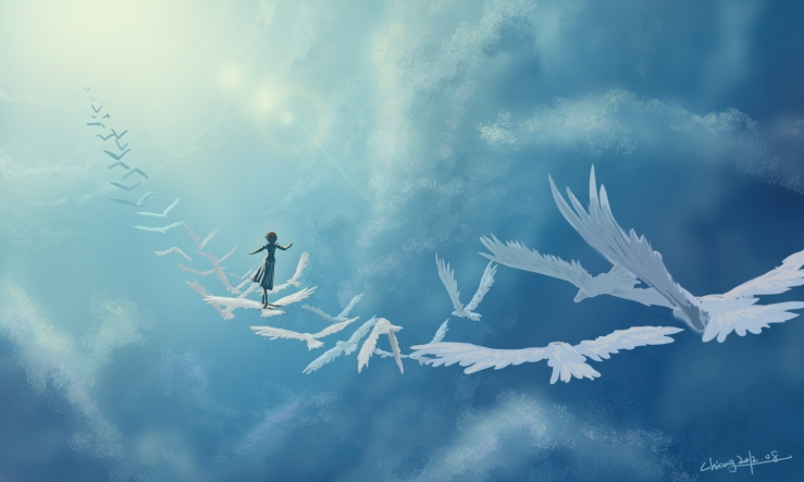 art-in-the-sky-birds-girl-fantasy-clouds